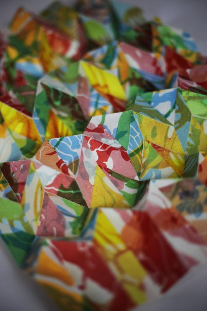 Geometrically folded mokuhanga prints made by Louise Rouse
