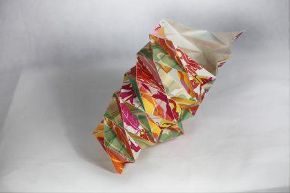 Photo of geometrically folded mokuhanga prints made by Louise Rouse